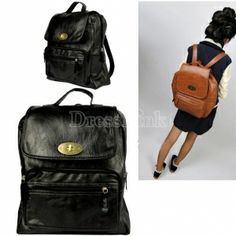 Womens Retro PU Leather Backpack Double Shoulder Pack BrownBlack Satchel