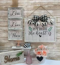 Dollar Tree Decor, Dollar Tree Crafts, Diy Projects To Try, Crafts To Make, Diy Crafts, Frame Crafts, Wood Crafts, Love Wood Sign, Distressed Furniture Painting