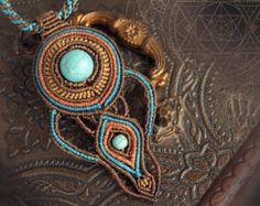 "Micro macrame necklace ""Portal key"", boho jewelry; bohemian; cosmic, magical; fairy macrame"