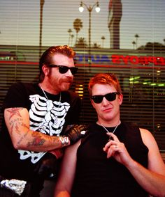 Jesse Hughes and Josh Homme, NYC, 2006, by Mick Rock.
