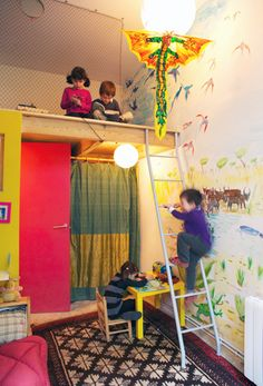 Kids' bedrooms with lofts with safety fences. Fun use of space.