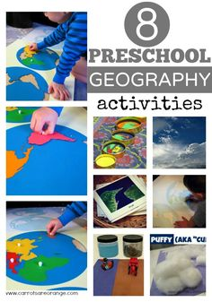 EIGHT geography activities for preschools including an introduction, clouds, air, land forms, land air & water, and extensions. These activities are Montessori inspired and, well, beautiful! from @Marnie Hirshhorn of Carrots Are Orange