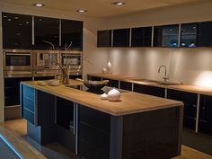 black cabinets with wood countertops - Google Search
