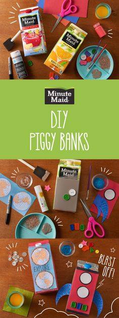 Grown-ups know how important it is to learn to save, and now your kids will too with this easy and fun DIY activity! Turn your Minute Maid juice cartons into piggy banks for your kids, or maybe to save something special for yourself.