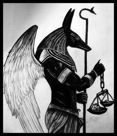 Anubis weighing his life. Egyptian Mythology, Egyptian Symbols, Egyptian Goddess, Egyptian Art, Anubis Drawing, Anubis And Horus, Anubis Tattoo, Egypt Tattoo, God Tattoos