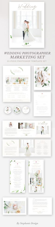 Photographer Branding Package Give your photography studio a professional, cohesive look with this customizable marketing set. Featuring 12 pieces and a 32-page Magazine Guide template, it includes everything you need to effectively enhance your photography studio quickly and affordably while giving your brides and groom something they won't want to forget leading up to their big day!