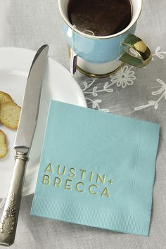 Gold foil stamped cocktail napkins from ForYoutParty.com. A great way to show your style on you big day.