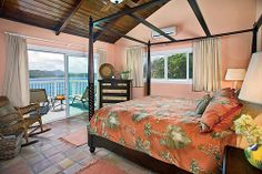Aptly named the Sunrise Suite, this lovely suite is named for the spectacular sunrises you see each morning from the mahogany, king size, four poster canopy bed.  His and hers mahogany nightstands with matching lamps are included, along with a telephone, ceiling fan and air conditioning.