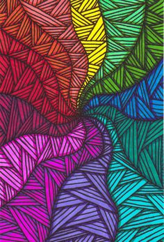 Original Color Swirl Zentangle Marker Drawing Signed by Artist Collectible Art #OutsiderArt                                                                                                                                                                                 More
