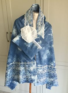 Tie die and lace tallit. A little bit girly and a little bit hipster. Tallit, Prayer Shawl, Denim And Lace, Tie Knots, Kimono Top, Girly, Hipster, Elegant, Trending Outfits