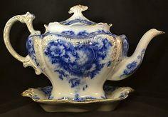 Antique Flow Blue china teapot  | ANTIQUE ENGLISH TEA POT FLOW BLUE PORCELAIN FINE CHINA 1912 FLORAL ...