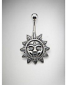 14 Gauge Sun Barbell Belly Ring