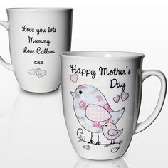 Personalised Mothers Day Floral Bird Latte Mug  from Personalised Gifts Shop - ONLY £9.95