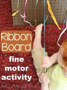 Ribbon Pull Board for Kids: A Fine Motor Activity from Still Playing School