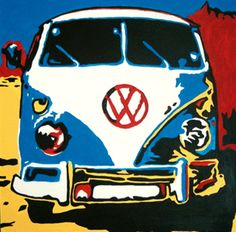 acrylic - vw bus by Diane Nowell