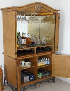 Charmant Armoire Turned Into A Bar