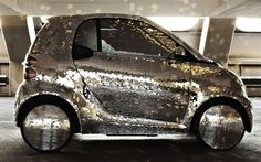 This special Smart ForTwo car was designed by artist formation Apparatjik to be used in their new film, Pixel City. This small car incorporates an all electric… Smart Fortwo, Pixel City, Drive All Night, Disco Ball, Disco Disco, Custom Paint Jobs, Weird Cars, City Car, Smart Car