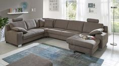 Möbel Cranz & Schäfer Eisenach | Möbel A-Z | Couches + Sofas | Ecksofas | Ecksofa in U-Form | Ecksofa in U-Form, Bezug Mandel, in Braun, günstiger, in Klassisch, Zehdenick, aus Kunstfaser, Eisenach
