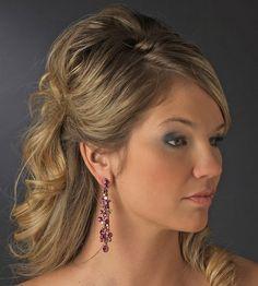 Long Fuchsia Crystal Earrings $58.00