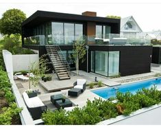 Cool container home, pool, garden layout