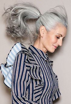 Salt and pepper gray hair. Grey hair. Silver hair. White hair. Granny 5bd3db54c5a