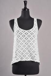 Mellow Daylight Sleevless Lace Bow Back Top in White #blouse #tops #womenclothing