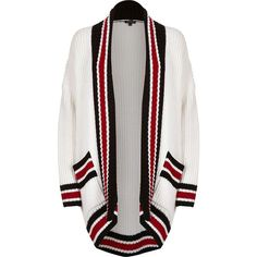 River Island White block print shawl neck cardigan (2,195 INR) ❤ liked on Polyvore featuring tops, cardigans, knitwear, white, women, white cardigan, color block tops, colorblock top, block top and river island