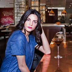 Perfect for enjoying a cocktail at a swanky bar. Ekaterina looks glamorous in our Women's Reversible Bamboo Top.