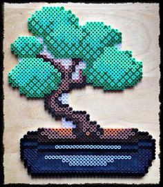 Bonsai hama perler beads by on deviantART Perler Bead Designs, Perler Bead Templates, Hama Beads Design, Diy Perler Beads, Perler Bead Art, Perler Patterns, Pony Bead Patterns, Beading Patterns, Modele Pixel Art