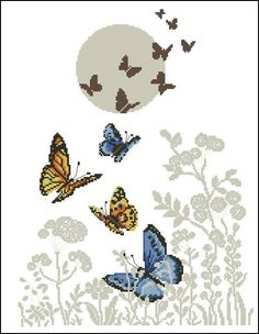 1 million+ Stunning Free Images to Use Anywhere Butterfly Cross Stitch, Butterfly Embroidery, Cross Stitch Borders, Simple Cross Stitch, Cross Stitch Animals, Embroidery Art, Cross Stitch Designs, Cross Stitch Embroidery, Cross Stitch Patterns