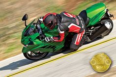 Kawasaki Ninja ZX-14R - the fastest-accelerating production bike of all time. And not by the slimmest of margins, either. Endowed with 192 rear-wheel horsepower, the ZX-14R will jumpstart your heart and redline your pulse while rocketing from zero to 60 in 2.6 seconds and covering a quarter-mile in under 9.5 seconds. From the Ten Best Bikes 2012- Best Open-Class Streetbike category.