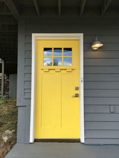 We just painted our house with Sherwin Williams colors and it turned out beautifully! House: SW2849 Westchester Gray Trim: SW7004 Snowbound Door: SW6902 Decisive Yellow
