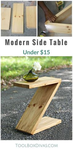 Learn how to build this simple modern side table that is shaped like a Z.  #WoodworkIdeas
