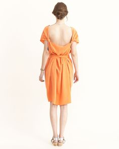 [for figure reference]    ...Silk Broadcloth Knot Dress in Papaya By Jesse Kamm