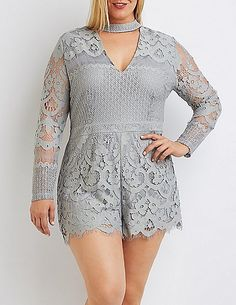 Plus Size Lace Cut-Out Mock Neck Romper -- Read more reviews of the product by visiting the link on the image.