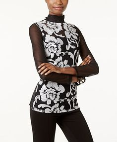 INC International Concepts Embroidered Sheer-Sleeve Top, Created for Macy's - Tops - Women - Macy's