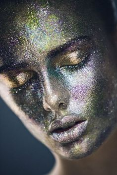 Sarah Dicks dons a full glitter face by Marina Alejandre