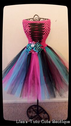 Monster high themed corset dress with matching bow by LisasTutus, $30.00