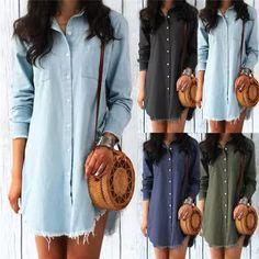 Long Sleeve Denim Shirt Dress Casual Turn-down Collar Tassels Loose Dress