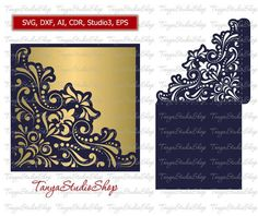 Wedding invitation - SVG, DXF, ai, CRD, eps, studio3 - Commercial - Vintage Lace - Laser Paper Cut - Silhouette Cameo - Instant Download 006