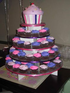 It's perfect - pink & purple cupcake tower with cupcake cake.  :)