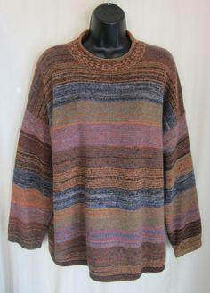 SISLEY RELAXED ELEGANCE Women's Multi-Color Sweater XL XLarge ITALY #SisleyRelaxedElegance #RolledCollar