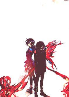 Kaneki Ken and Touka Amon Tokyo Ghoul Ayato Kirishima, Tokyo Ghoul Uta, Manga Anime, Anime Art, Akira Mado, Touka Wallpaper, T Shirt Manga, Fanart, Anime Couples