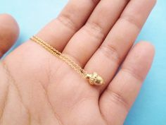 Tiny Acorn Necklace Gold Acorn Necklace Cute by giftjewelryshop