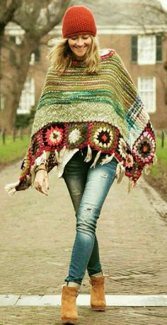 Trendy Ideas For Knitting Wear Street Style Crochet Motifs, Crochet Squares, Crochet Patterns, Crochet Stitches, Crochet Cardigan, Crochet Shawl, Knit Crochet, Crochet Fashion, Boho Outfits