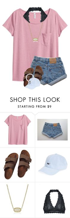 """Beach tomorrow AGAIN"" by breezerw ❤ liked on Polyvore featuring H&M, Birkenstock, Vineyard Vines, Kendra Scott and Free People"