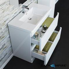 900mm Denver Gloss White Built In Basin Drawer Unit - Floor Standing - BathEmpire