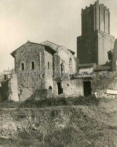 """""""Mercato di Traiano. Loggetta dei Caesari e Torre delle Milizie"""", vista su via della Torre dalla terra sopra l'isolato del Grillo"""