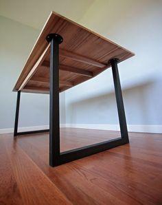 Minimalist Modern Industrial Office Desk or Dining Table // Sun Tanned Poplar // Matte Black Steel Legs
