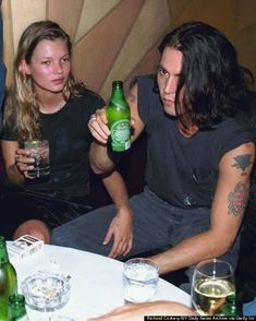 Thanks to Kate Moss and Johnny Depp, nothing says fashion power couple like a muscle tee, tats and an ice cold beer.